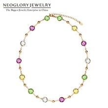 Neoglory luz amarelo gargantilha corrente maxi longos colares para presentes do dia dos namorados feminino embelezado com cristais de swarovski