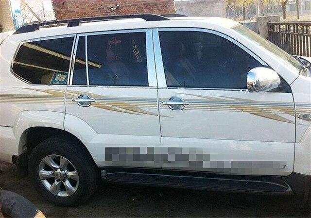 Para A Toyota Land Cruiser Prado FJ120 03 09 Chrome Peitoril Da Janela  Pilar Guarnição