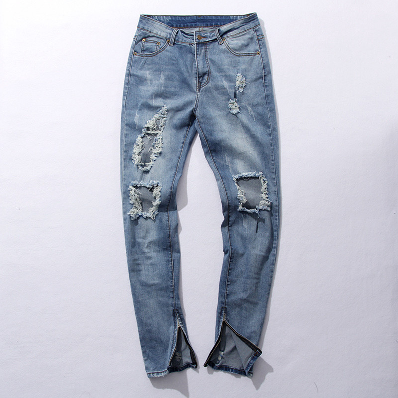 Mens Skinny Light Blue Jeans Big Holes Denim Slim Jeans New Fashion Men Zipper Jean Pants