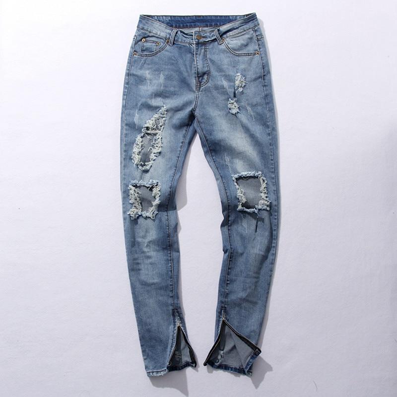Mens Skinny Light Blue Jeans Big Holes Denim Slim Jeans New Fashion Men Zipper Jean Pants