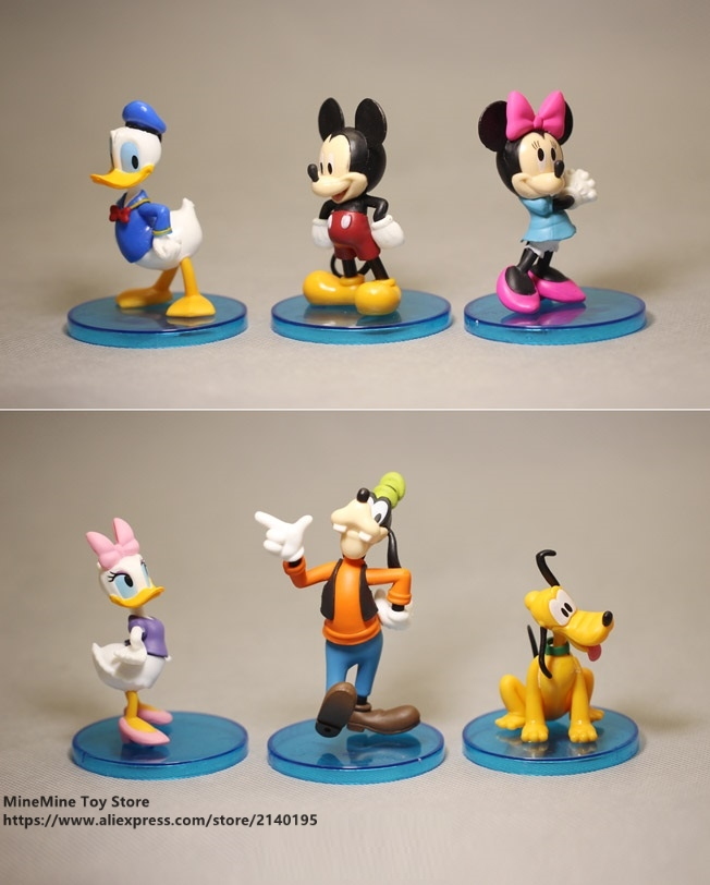 ZXZ Mickey Mouse Minnie 4pcs/set 6-8cm Action Figure Posture Anime Decoration Collection Figurine Toy model for children gift