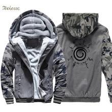 Uzumaki Naruto Hoodie Men Japan Anime Hooded Sweatshirt Coat 2018 Winter Thick Fleece Warm Camouflage Jacket Harajuku Sportswear