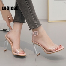 Crystal heel Sandals Lady's shoes Summer 2019 New transparent sandals clear heels sexy prom shoes tenis feminino wedding shoes 9 недорого