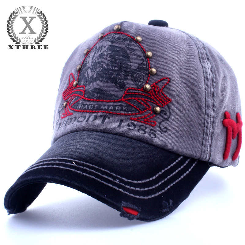 Xthree brand hot embroidery antique style casquette snap back hat for men women Baseball Cap