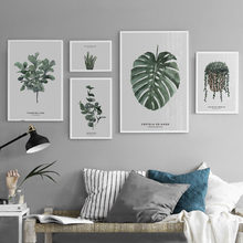 цена Nordic Green Plants Leaves Canvas Paintings Posters Prints Typography Wall Art Picture for Living Room Home Office Decoration онлайн в 2017 году