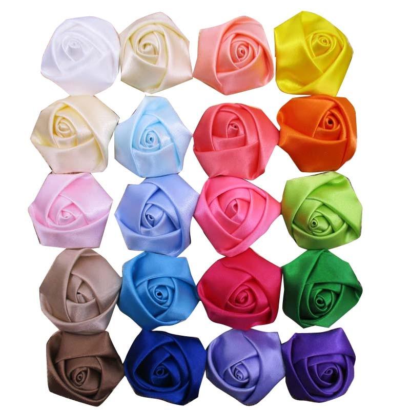 200pcs/lot 1.5 Girl Satin flower DIY polyester ribbon rolled rosettes flower rose Hair acessories women flowers headddress