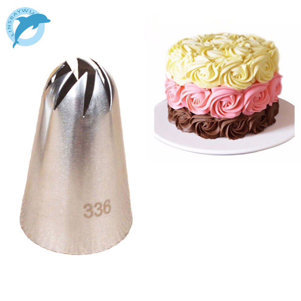 LINSBAYWU #336 Large Size Icing Piping Nozzle Cake Cream Decoration Head Bakery Pastry Tips Stainless Steel Cake Decorating Tool