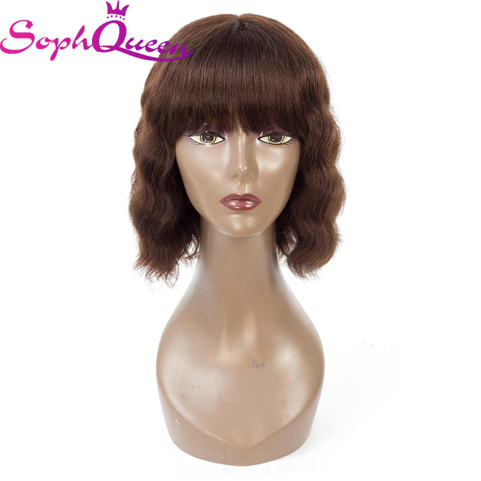 Soph Queen Hair Brazilian Wave Remy Hair Bob Wigs With Bangs Lace Front Human Hair Wigs For Black Women