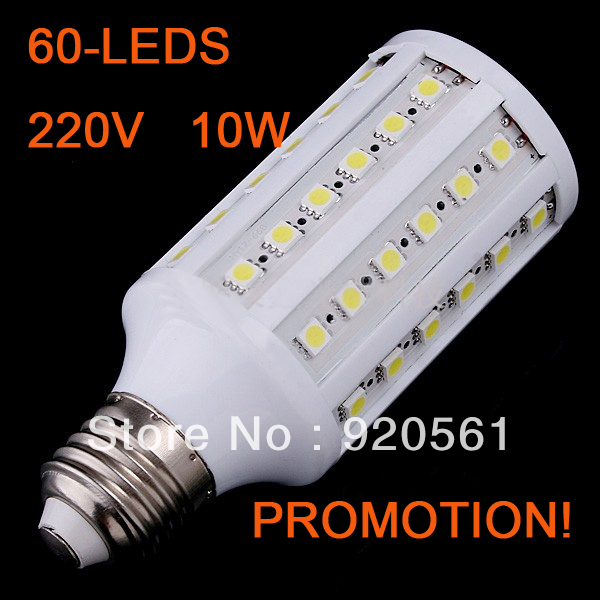 Drop ship E27 10W 60 LEDs SMD5050 900lumen White/Warm White LED Corn Bulb Light Lamp 110V/220V Free Shipping