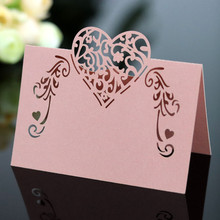 50pcs Laser Cut Heart Flower Shape Place Cards Wedding Name For Party Table Decoration Favor