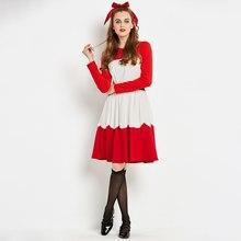 1d08154a9 Sisjuly las mujeres de cuello en O manga larga vestido rojo blanco  Patchwork de trabajo corto de baile una línea cinturón negro .