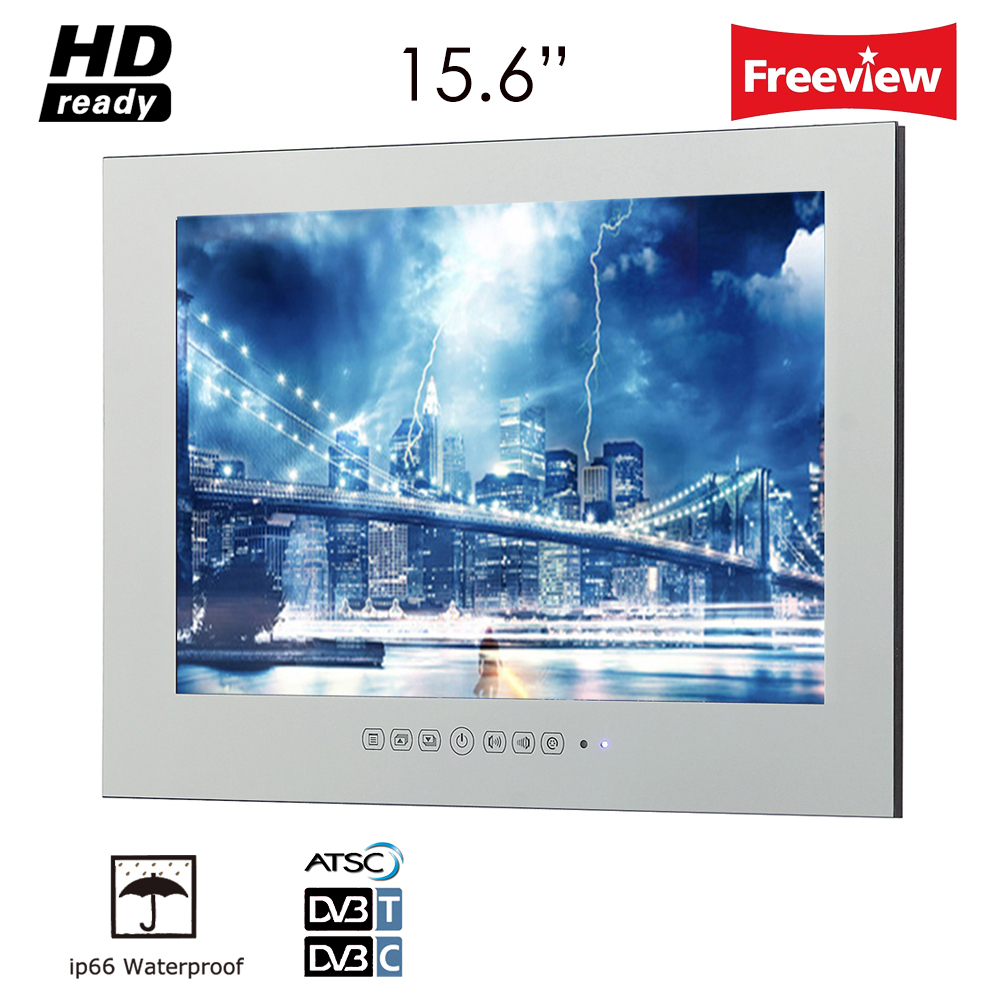 """Souria IP66 HD 15.6"""" Glass Mirror TV/ TV in Mirror LED Television in Magic Mirror High Quality LCD Advertising Display TV"""