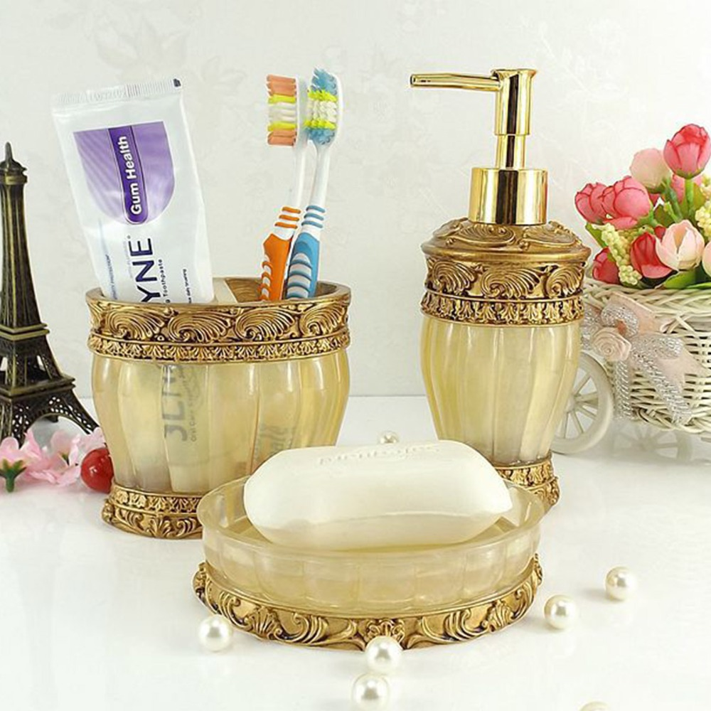 Gold bathroom sets - Aliexpress Com Buy Gold Blue Red 5 Pcs Bathroom Set Resin Handcraft European Royal Bath Accessory Soap Dish Dispenser Toothbrush Holder Wash Cup From