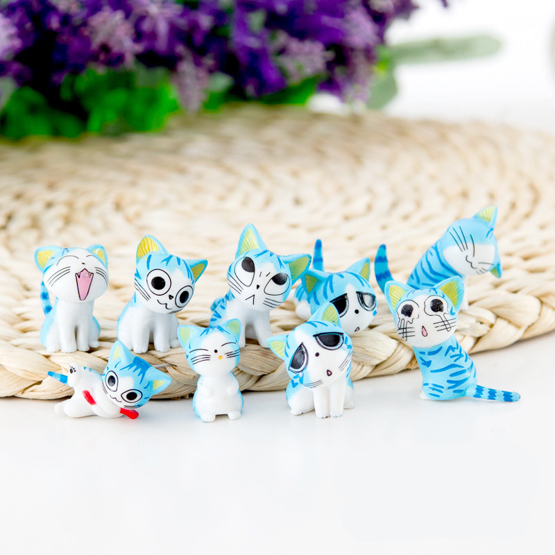9pcs/lot Cheese cat miniature figurines toys cute lovely Model Kids Toys 2-3cm PVC japanese anime children figure world image