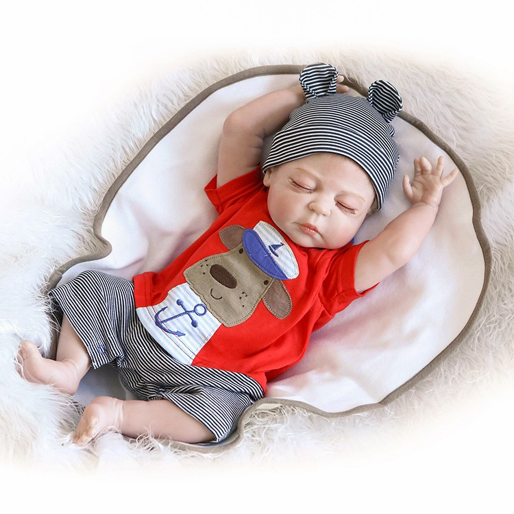 NPKCOLLECTION Silicone Reborn Baby Levensechte Peuter Baby Bonecas Kid Doll 45 cm Bebes Reborn Brinquedos Reborn Speelgoed Voor Kids Gift-in Poppen van Speelgoed & Hobbies op  Groep 1