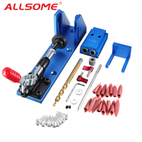 ALLSOME Aluminum Pocket Hole Jig Kit Wood Hole Saw 9.5mm Step Drill Bits 150mm PH2 Screwdriver Bit with Pocket Plugs Screws
