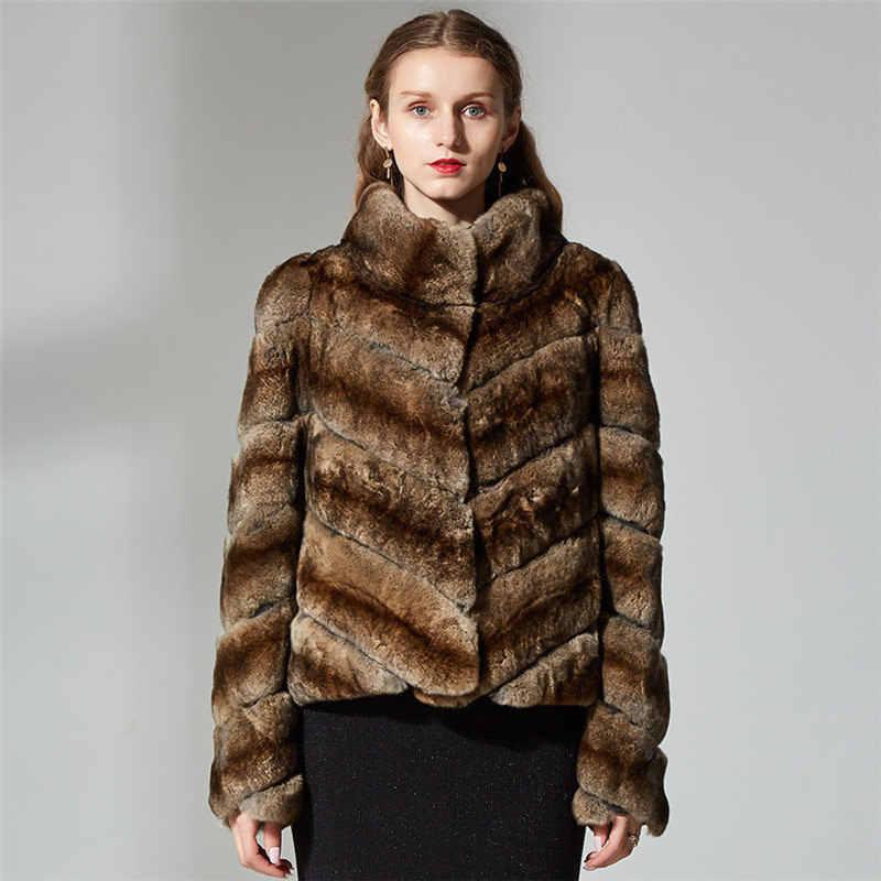 e653a29c5a1 ... Тонкий мех кролика пальто реального кролика рекс меховая куртка короткие  для женщин Бежевый Цвет Стенд воротник ...