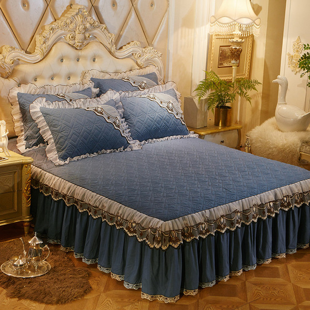 Twin queen king size Princess Lace bed skirt grey blue purple color bedspread bed cover sheets colchas para camas bed decoration