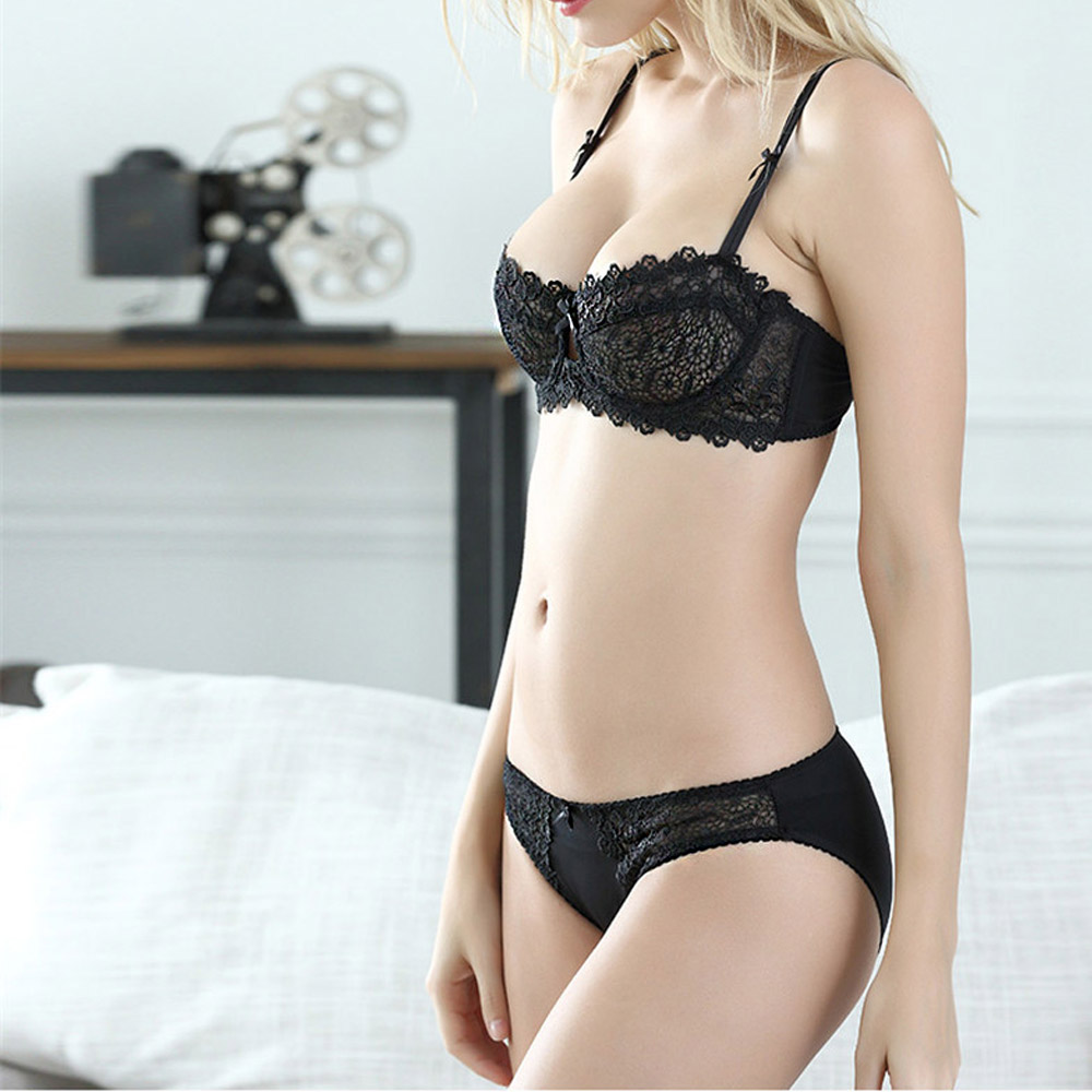 Women   Bra     Sets   Underwear Sexy Lace Push Up   bra   panty   set   Lingerie Unlined lingerie   set   30-40 AA A B C D Cup