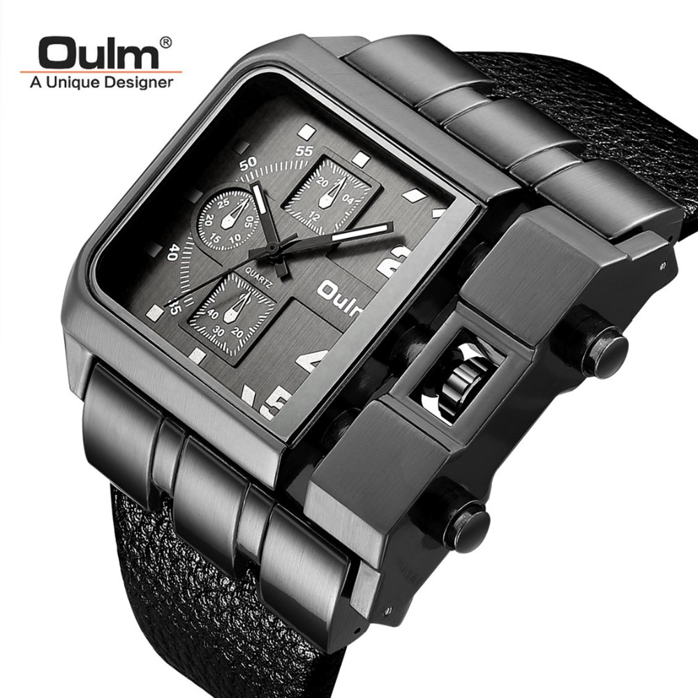 Men's Wristwatch Relogio Masculino Big Square Size Watches Men Luxury Brand OULM Sport Male Quartz Watches Wide PU Leather Clock