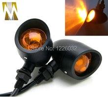 Черный Металл Мотоциклов LED Поворотов световой Индикатор Flasher Для Мини Sportster Harley Bobber Chopper стоп-сигнал