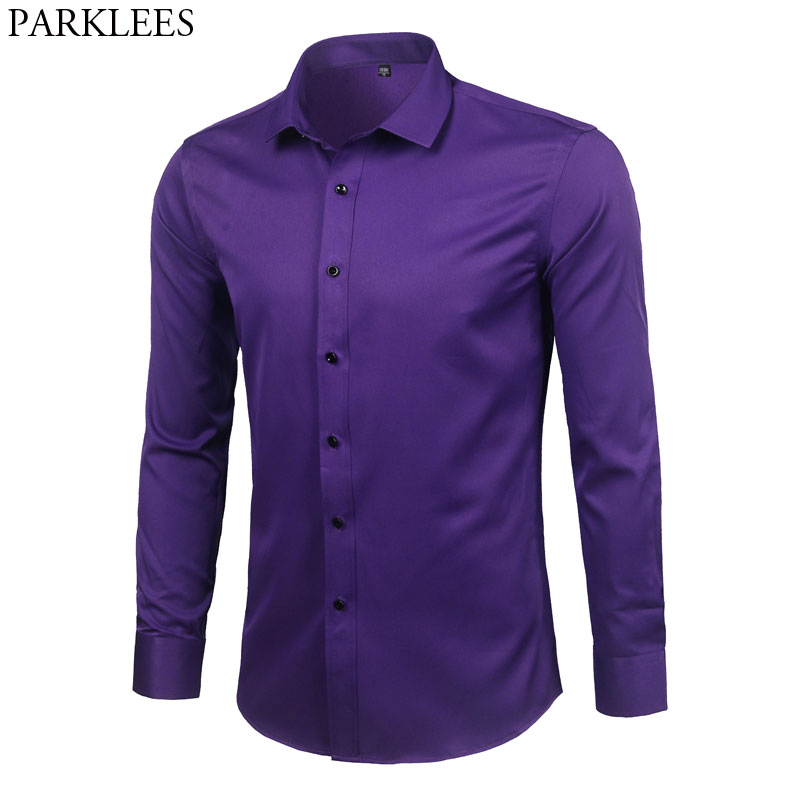 Purple Mens Bamboo Fiber Dress Shirt 2018 Brand New Slim Fit Long Sleeve Chemise Homme Non Iron Easy Care Formal Shirt For MenCasual Shirts   -