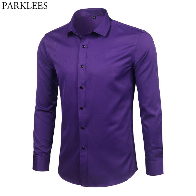 Purple Men's Bamboo Fiber Dress Shirt 2018 Brand New Slim Fit Long Sleeve Chemise Homme Non Iron Easy Care Formal Shirt For Men