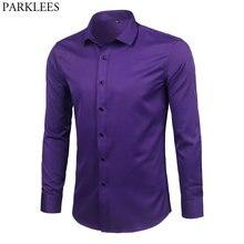 Purple Men's Bamboo Fiber Dress Shirt 2018 Brand New Slim Fi