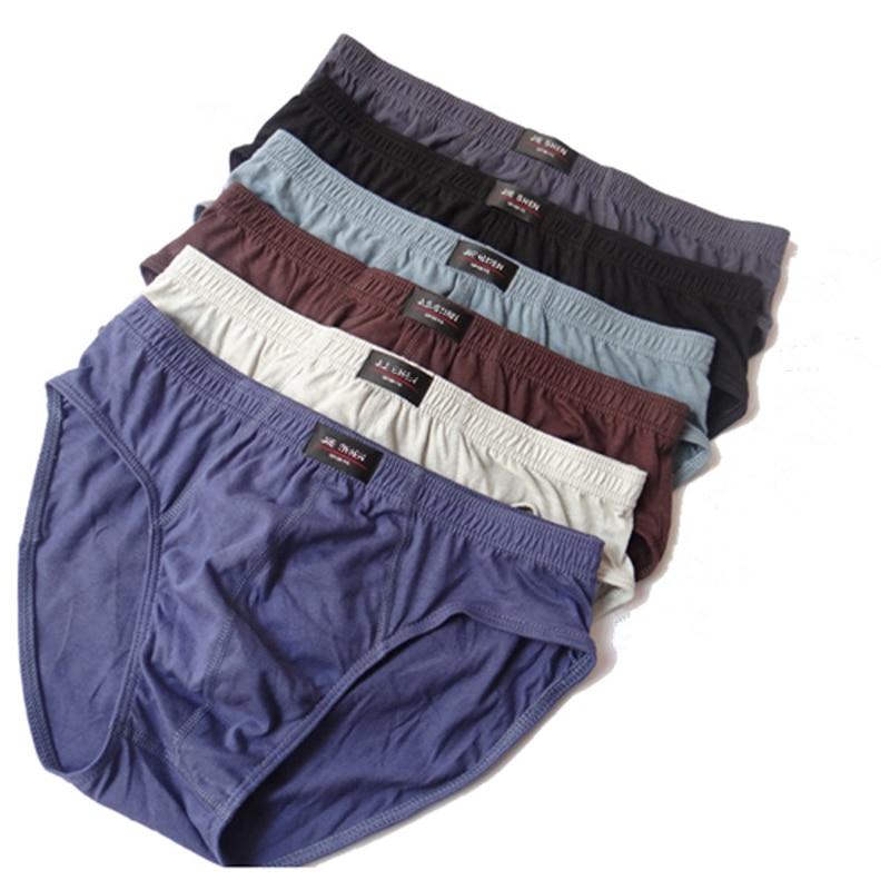 New Brief mens brandSolid Briefs 4pcs / Lot Mens Brief Cotton Mens Bikini Underwear Pant For Men Sexy Underwear men lot 6XL