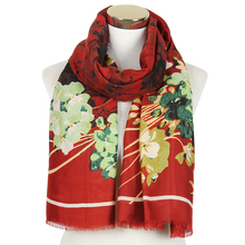 Hot Sale Red Navy Floral Print Tie Dyeing Large Long Scarf Shawls And Wraps For Ladies Women Female Soft Beach Scarves navy self tie design random floral print tiered playsuit