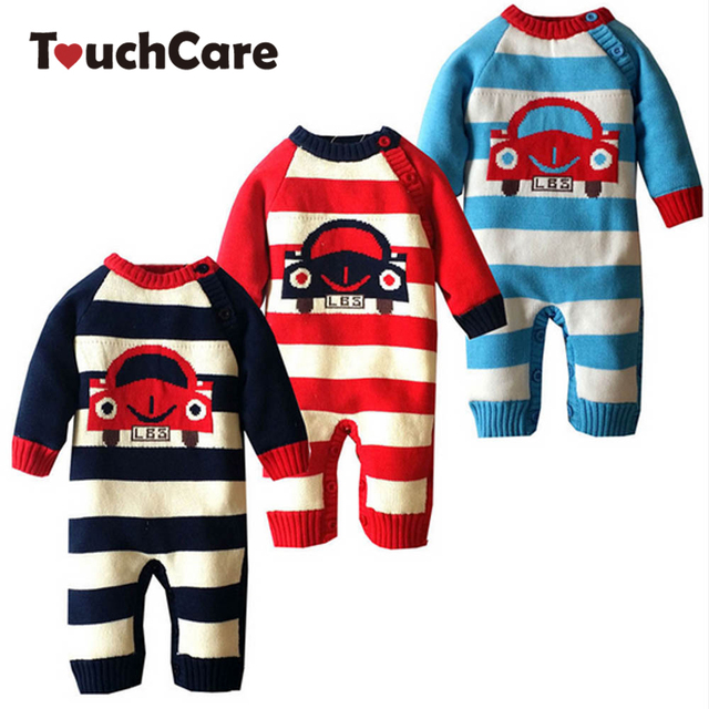 27117b5a6 Newborn Winter Cartoon Car Baby Rompers Infant Soft Cotton Thick ...