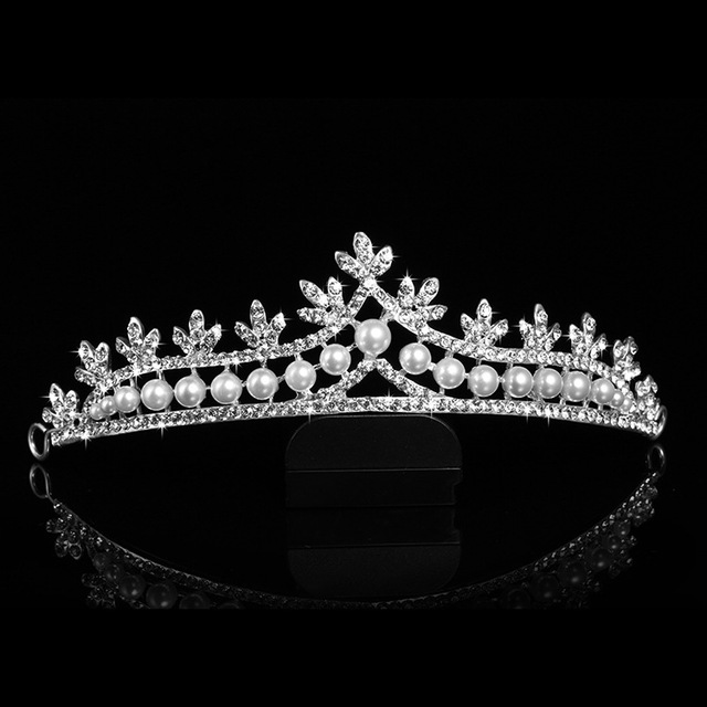 JaneVini 2018 Luxury Bridal Crystal Tiara Crown Baroque Pearl Bride Head Jewelry Rhinestone Crowns Prom Wedding Hair Accessories