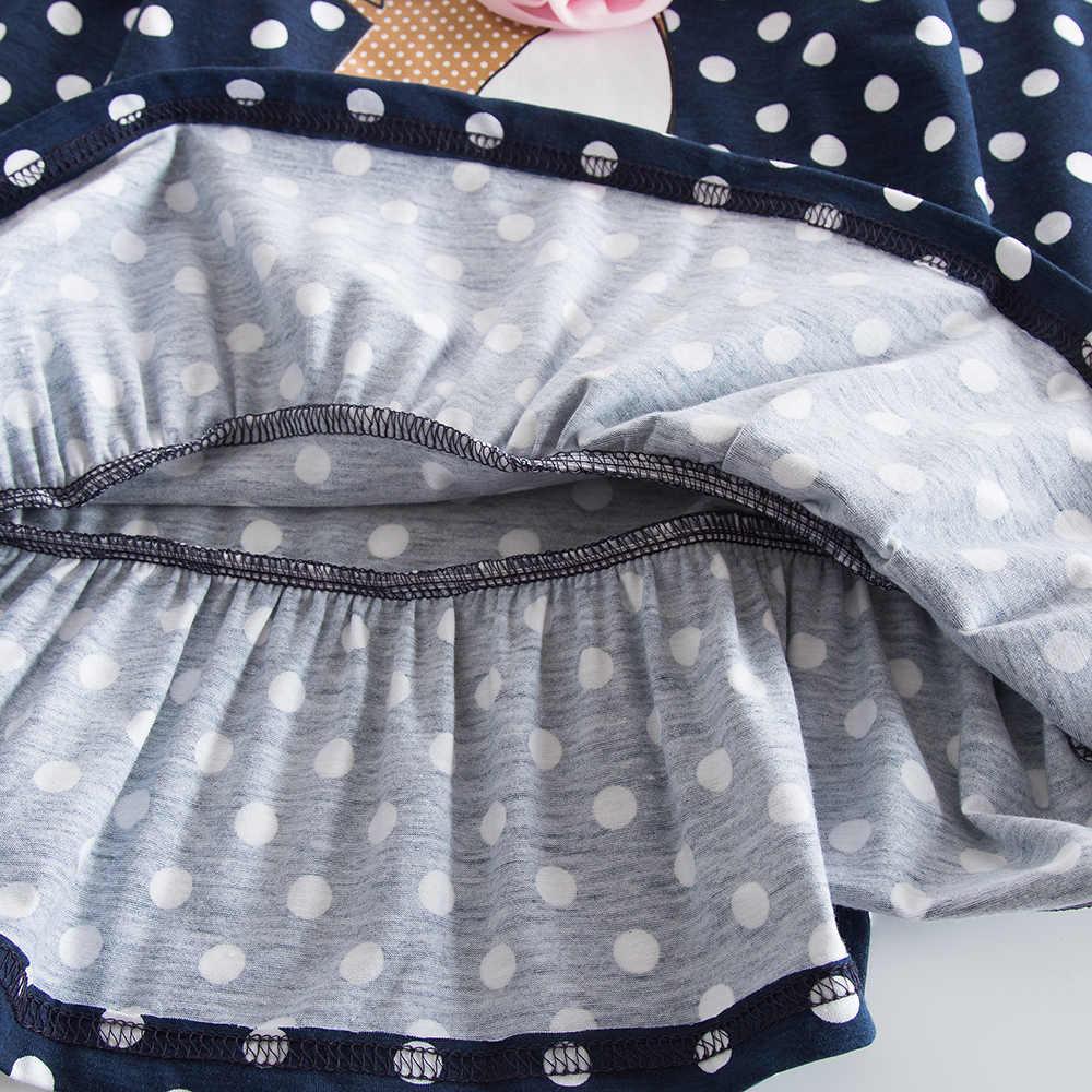 JUXINSU Küçük Geyik Karikatür Polka Dot Kız uzun kollu elbise Pamuk Çocuk Sonbahar Kış Rahat Elbiseler Kızlar için 1-8 Yıl