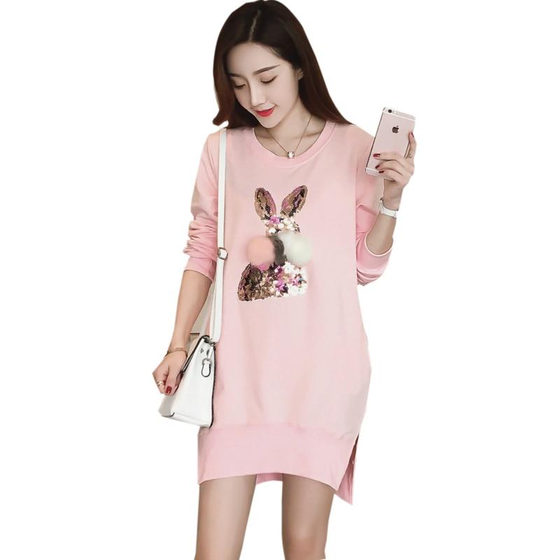 все цены на Maternity Sweatshirt Dress Sequined Rabbit Side Slit Dresses for Pregnant Women Pink Pregnancy Long Tops Clothes Spring/Winter