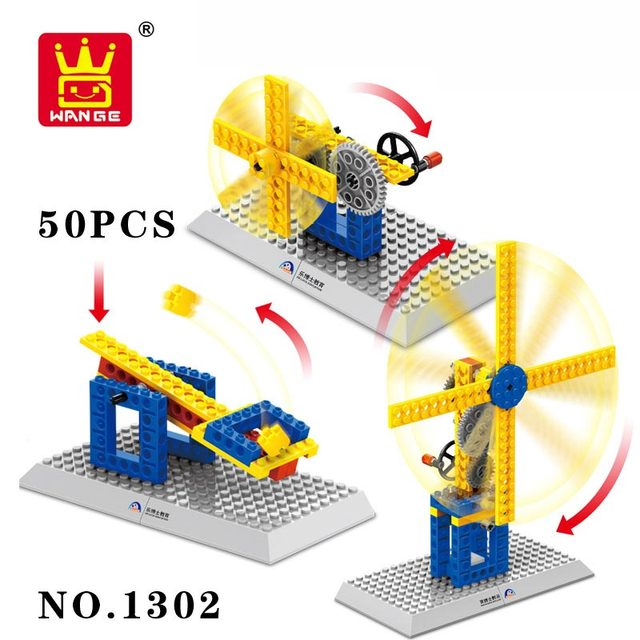 Wange Blocks Scientific Mechanical Crown Gear Windmill Model Building Blocks For Kids Enlighten And Learning Toys