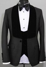 Custom Made Retro melange color spot copper navy woolen tweed suit British style Mens slim fit Blazer wedding 3pcs