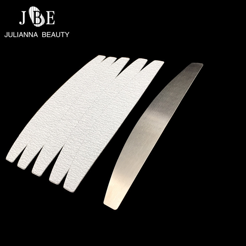 100 Pcs Double Sided Nail File Sanding Buffer Block For Stainless Steel Double Sided Halfmoon Nail File Nail Art Beauty Tool