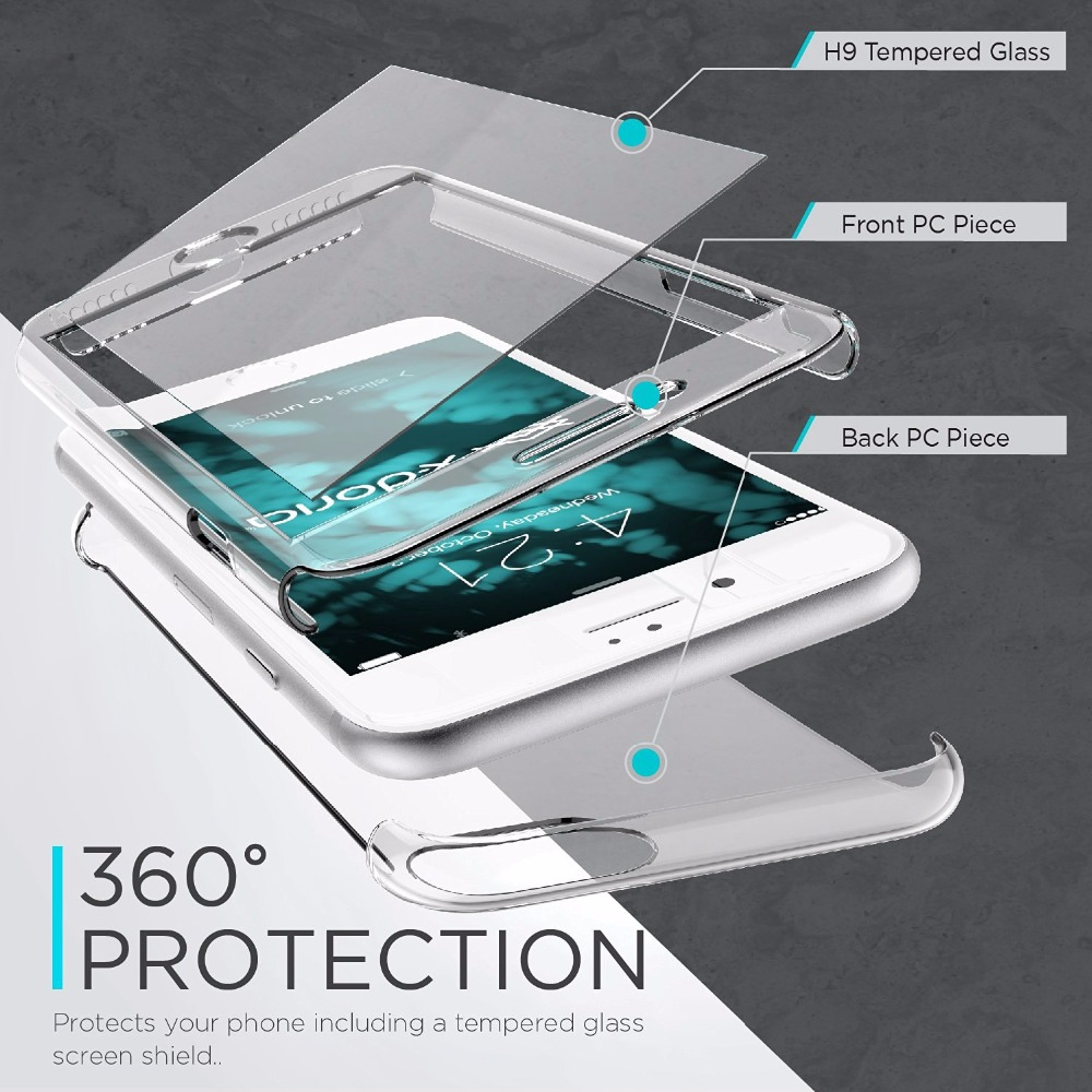 32bda9b99de X Doria Defense 360 Glass Case for iPhone 7 Plus Cover, Full Coverage with  Tempered Glass Screen Protector for iPhone-in Fitted Cases from Cellphones  ...