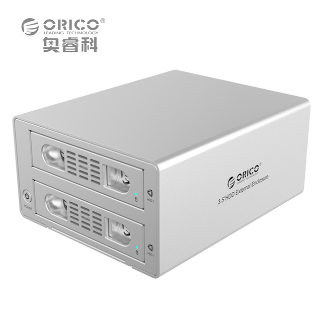 "ORICO 3529RUS3 Tool Free Aluminum 2 Bay 3.5"" SATA3 USB3.0 & eSATA HDD External Docking Station RAID 4bay (No Hard Disk)"
