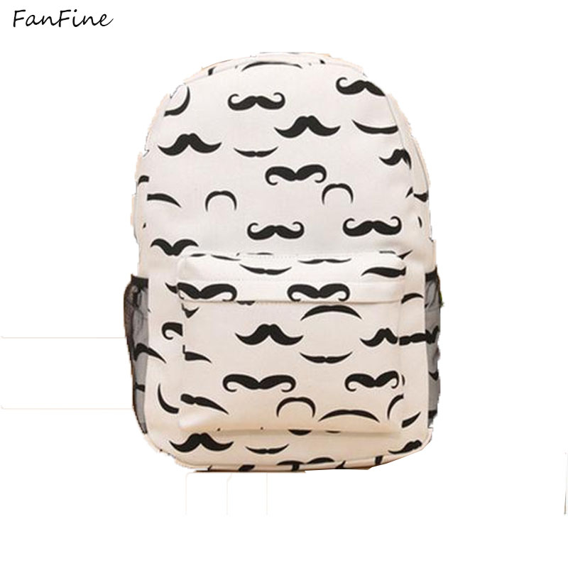 FanFine fashion lady owl print backpack Galaxy Stars Universe Space School Book Campus student Backpacks mustache bag