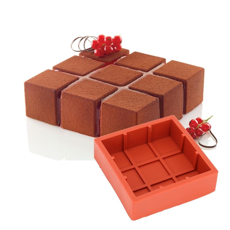 DINIWELL 1 PCS négyzet alakú rácsos szilikon torta sütés penész - Konyha, étkező és bár