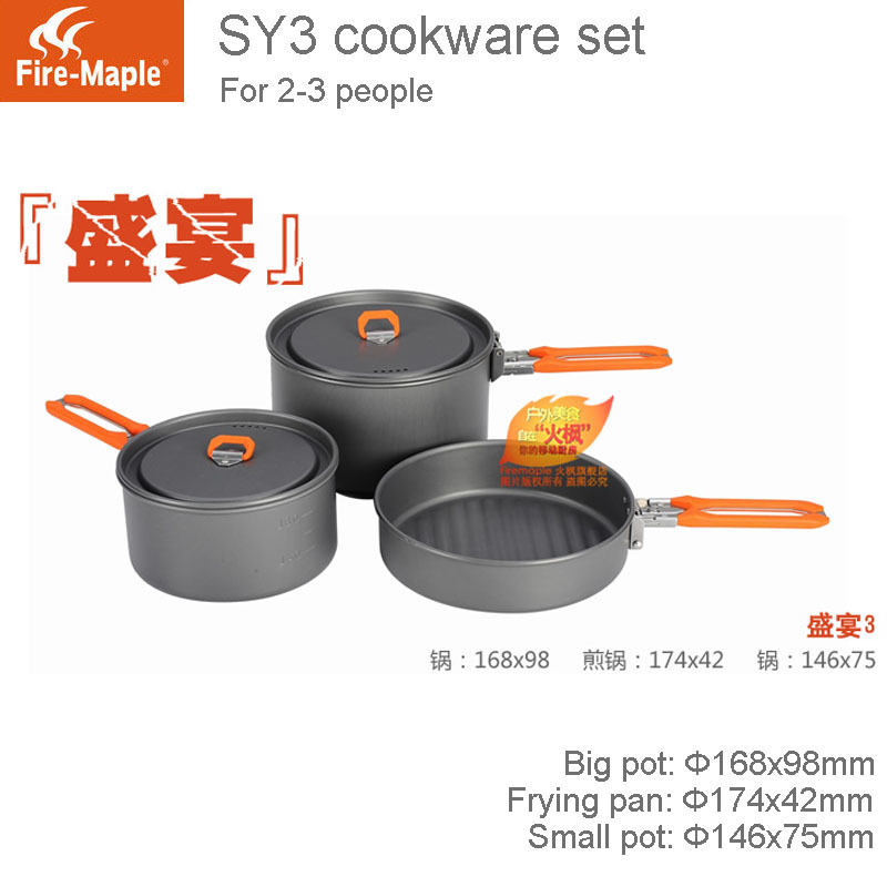 ФОТО Fire Maple SY3 2-3 people Outdoor Camping or Picnic  Portable Set of Pot with Folding Handle and Mesh Carrying Case