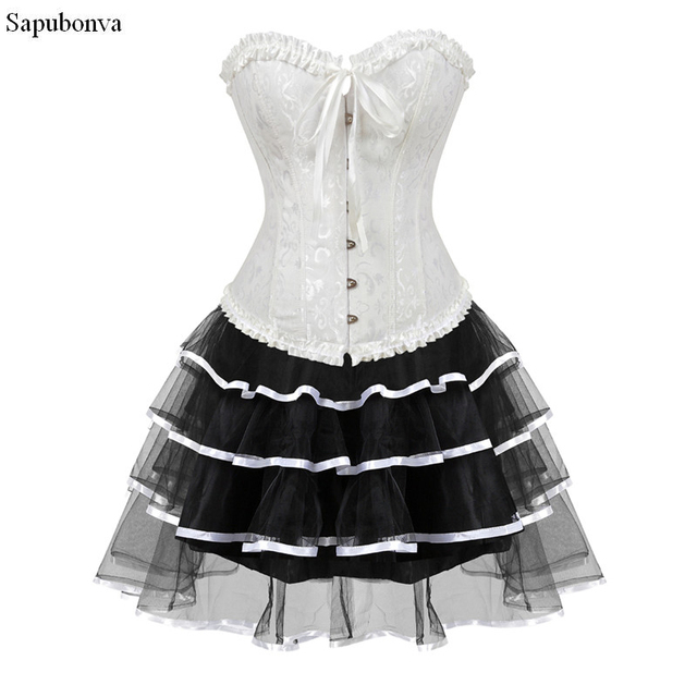0cfe23a29f3 Sapubonva gothic burlesque corset and skirt set plus size halloween  costumes victorian corset dresses party floral fashion sexy
