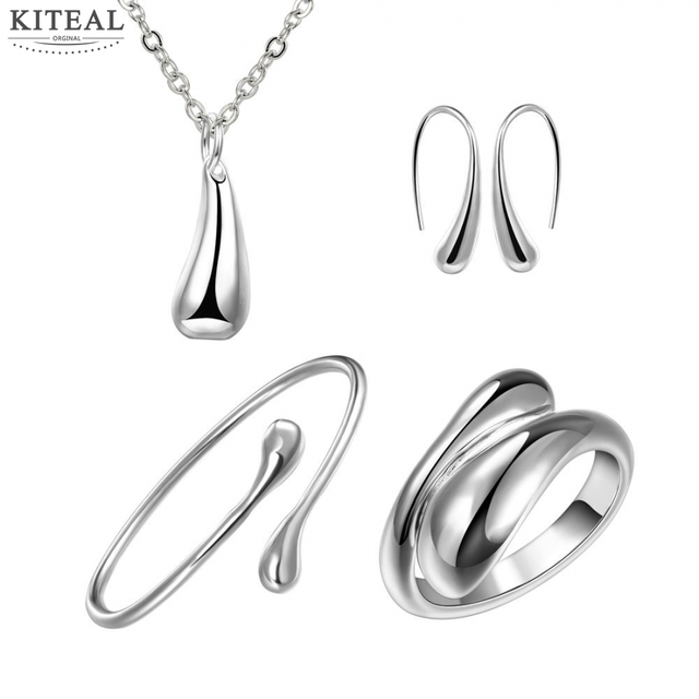 Best Gift  silver plated jewelry sets  Waterdrop Necklace&Bangle&Ring Sets for women jewelry