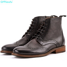 QYFCIOUFU Vintage Men Ankle Boots designer Mens Shoes Fashion Chelsea Autumn Brogues Genuine Leather Casual Martins