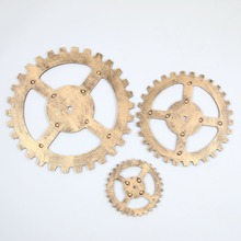 1PC European Modern Vintage Steampunk Gear Industrial Style Wall Home Decoration Silver/Gold Wood Board JL 291