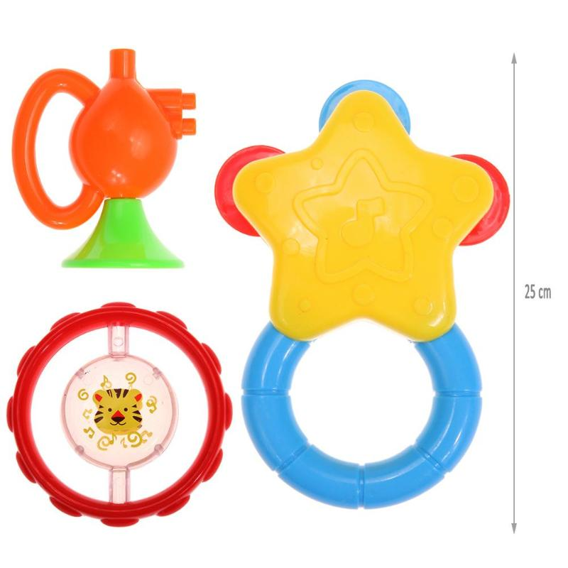 3 Pcs Baby Rattles Colorful Newborn Teethers Baby Hand Rattles Grasping Hand Ring Bell Toys Newborn Educational Toys Kids Gift