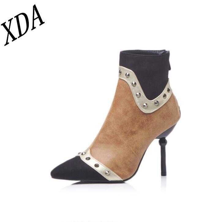4a2cd009b4ed5 Xda Hauts Pointu De 2019 Beige Cheville Bout Chaussures Mode Sexy bleu  Dentelle Bottes Pompes Femmes Talons ...