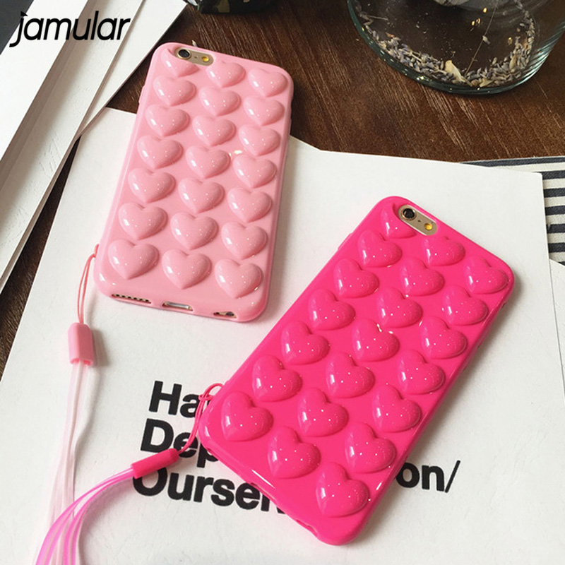 JAMULAR Candy Colour Pink Heart Jelly Soft Phone Case Silicone Cover For iPhone X XS MAX XR 7 8 Plus 6 6s Plus Back Cover Fundas