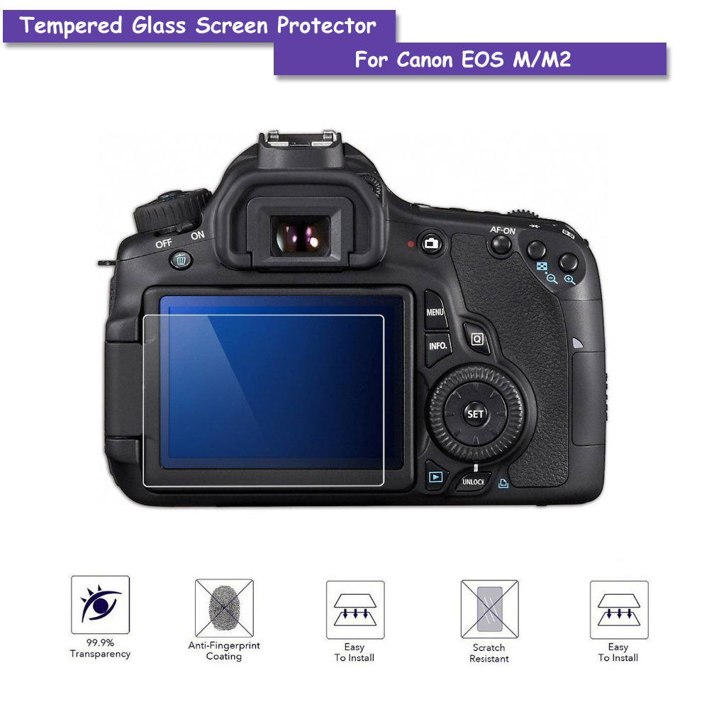 9H Tempered Real Glass LCD Screen Protector Shield Film for Canon EOS M / M2 Camera Accessories